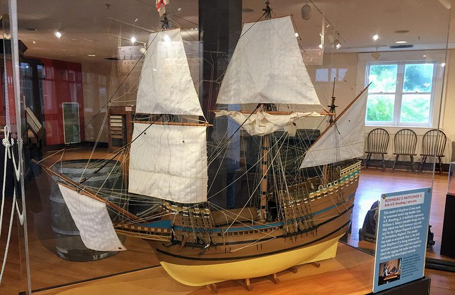 A model of Mayflower II in a museum of Massachusetts